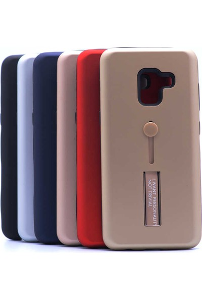 Evastore Galaxy A8 Plus 2018 Kılıf Zore Olive Standlı Kapak - Rose Gold
