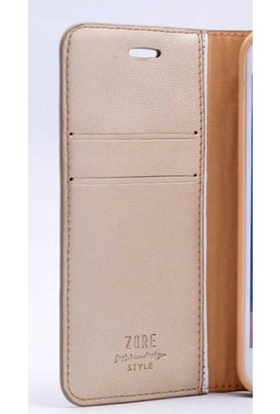 Evastore Galaxy A5 2016 Kılıf Zore New Delüxe Kapaklı Standlı Kılıf - Gold
