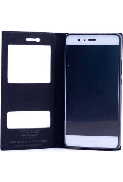 Evastore Huawei P9 Lite Kılıf Zore Elite Kapaklı Kılıf - Siyah