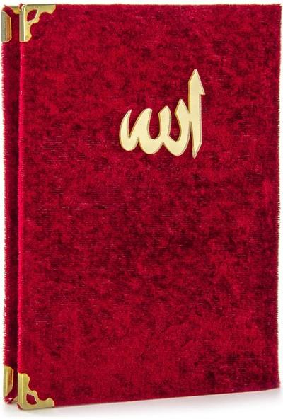 İhvan Kadife Kaplı Yasin Kitabı Allah Lafızlı Çanta Boy Bordo