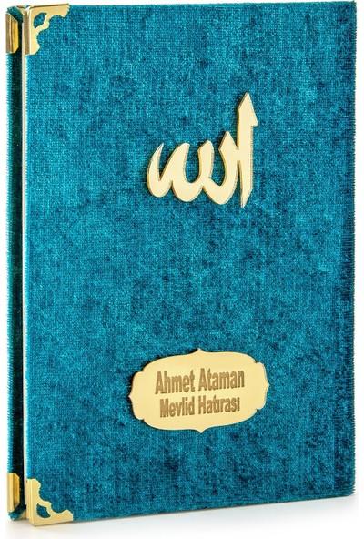 İhvan İsme Özel Kadife Kaplı Yasin Kitabı Çanta Boy Petrol