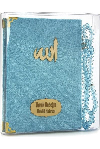 İhvan İsme Özel Kadife Kaplı Yasin Seti Çanta Boy Mavi