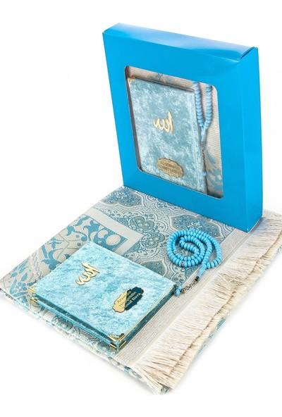 İhvan Kadife Kaplı Çanta Boy Yasin Kitabı Ve Seccade Tesbih Seti Mavi