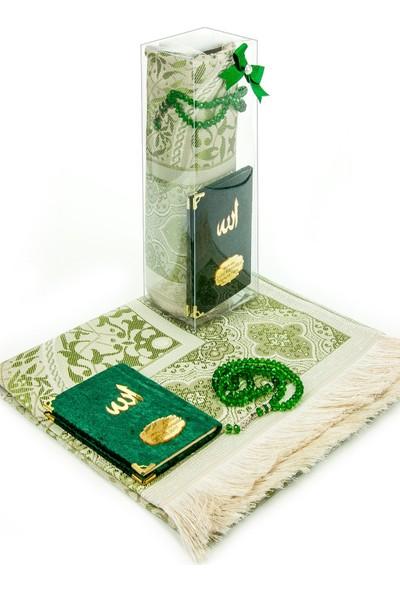 İhvan Kadife Kaplı Cep Boy Yasin Kitabı Ve Seccade Tesbih Seti Yeşil