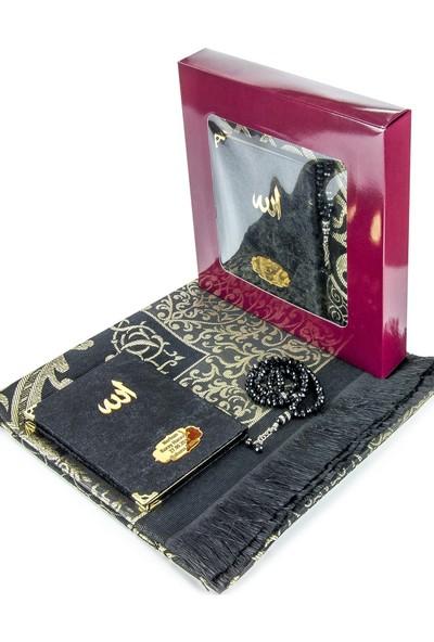 İhvan Kadife Kaplı Çanta Boy Yasin Kitabı Ve Seccade Tesbih Seti Siyah