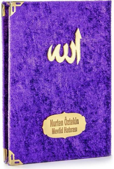 İhvan İsme Özel Kadife Kaplı Yasin Kitabı Çanta Boy Mor