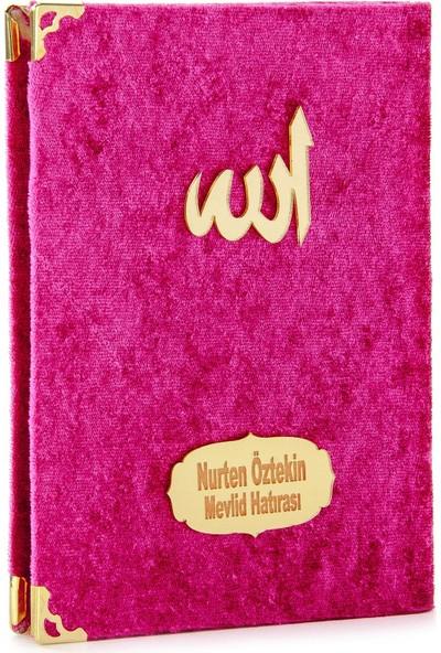 İhvan İsme Özel Kadife Kaplı Yasin Kitabı Çanta Boy Fuşya