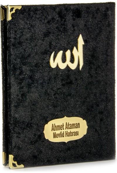 İhvan İsme Özel Kadife Kaplı Yasin Kitabı Çanta Boy Siyah