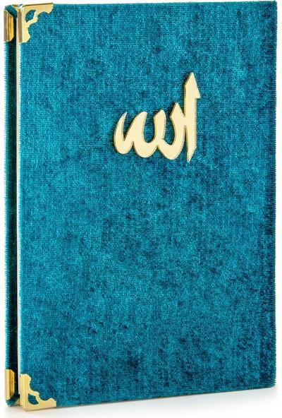 İhvan Kadife Kaplı Yasin Kitabı Allah Lafızlı Çanta Boy Petrol