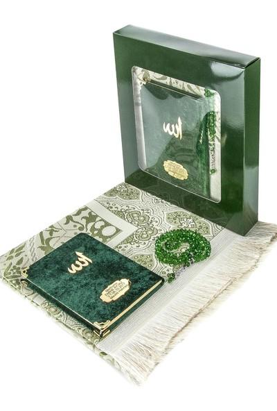 İhvan Kadife Kaplı Çanta Boy Yasin Kitabı Ve Seccade Tesbih Seti Yeşil