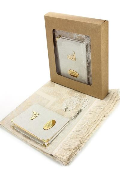 İhvan Kadife Kaplı Çanta Boy Yasin Kitabı Ve Seccade Tesbih Seti Beyaz