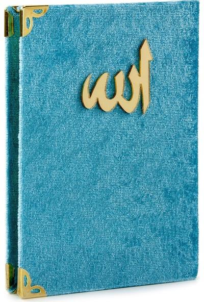 İhvan Kadife Kaplı Yasin Kitabı Allah Lafızlı Cep Boy Mavi