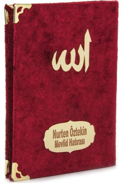 İhvan İsme Özel Kadife Kaplı Yasin Kitabı Cep Boy Bordo