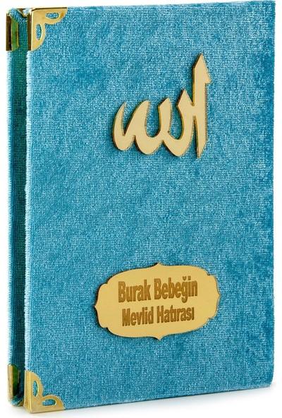 İhvan İsme Özel Kadife Kaplı Yasin Kitabı Cep Boy Mavi