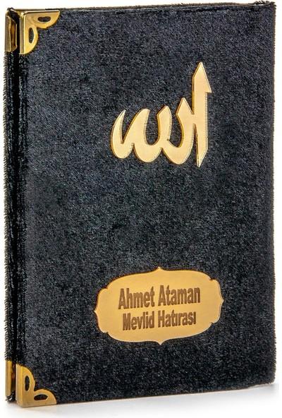 İhvan İsme Özel Kadife Kaplı Yasin Kitabı Cep Boy Siyah