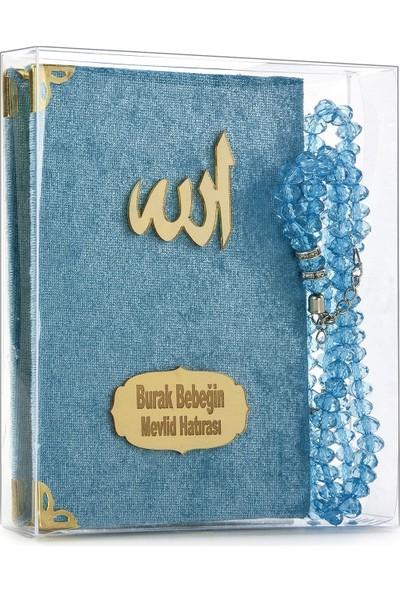 İhvan İsme Özel Kadife Kaplı Yasin Seti Cep Boy Mavi