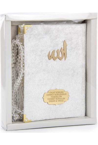 İhvan Karton Kutulu Tesbihli İsme Özel Kadife Kaplı Yasin Kitabı Beyaz