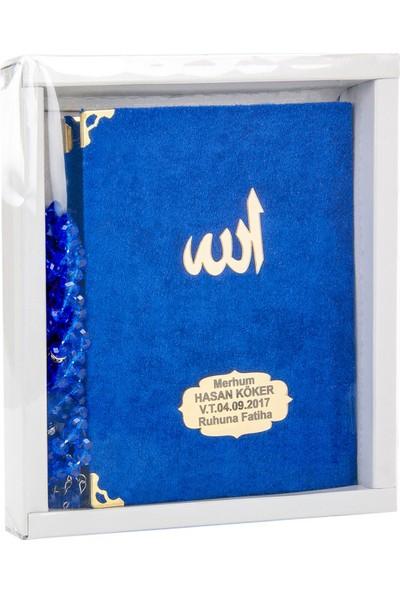İhvan Karton Kutulu Tesbihli İsme Özel Kadife Kaplı Yasin Kitabı Lacivert