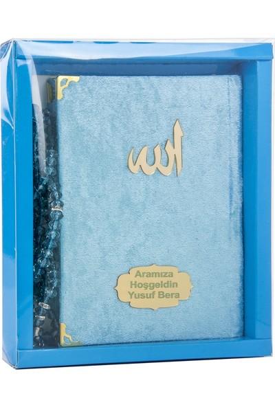 İhvan Karton Kutulu Tesbihli İsme Özel Kadife Kaplı Yasin Kitabı Mavi