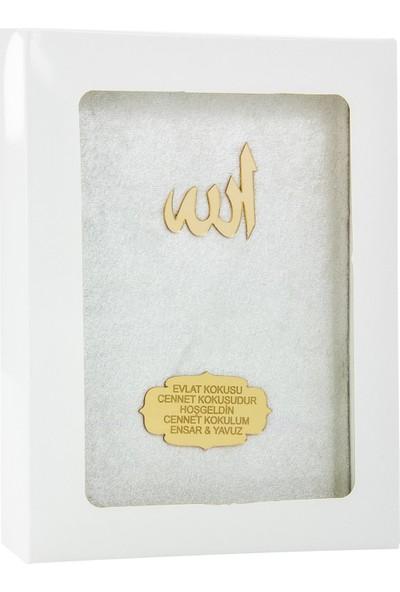İhvan Karton Kutulu İsme Özel Kadife Kaplı Yasin Kitabı Bordo