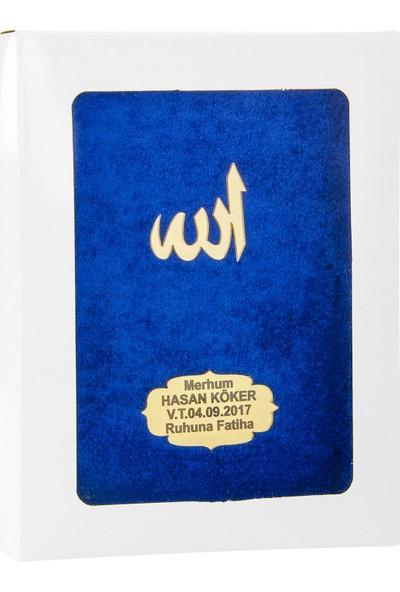 İhvan Karton Kutulu İsme Özel Kadife Kaplı Yasin Kitabı Lacivert