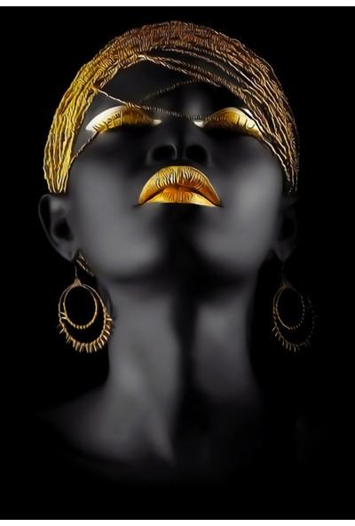 Yaylera Afrikalı Kadın Temalı Dekoratif Kanvas Tablo 50*70 cm