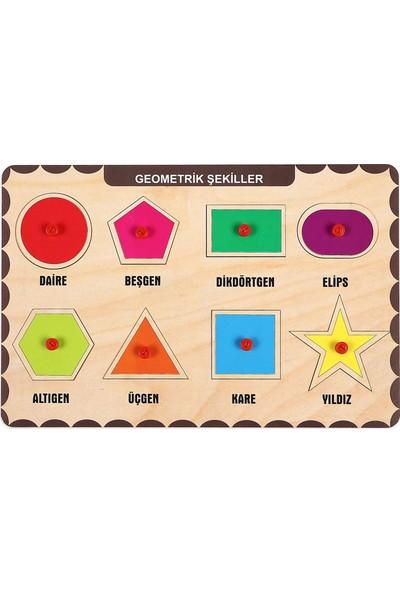 Maketçiniz Ahşap Tutmalı Eğitici Yapboz Geometrik Şekiller