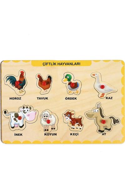 Maketçiniz Ahşap Tutmalı Eğitici Yapboz Çiftlik Hayvanlar