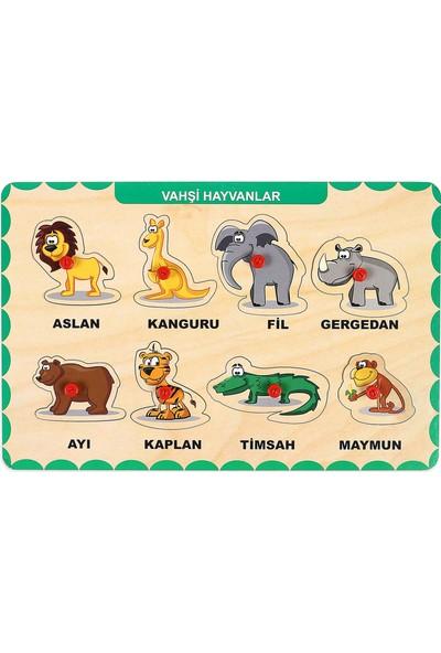 Maketçiniz Ahşap Tutmalı Eğitici Yapboz Vahşi Hayvanlar