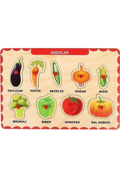 Maketçiniz Ahşap Tutmalı Eğitici Yapboz Sebzeler