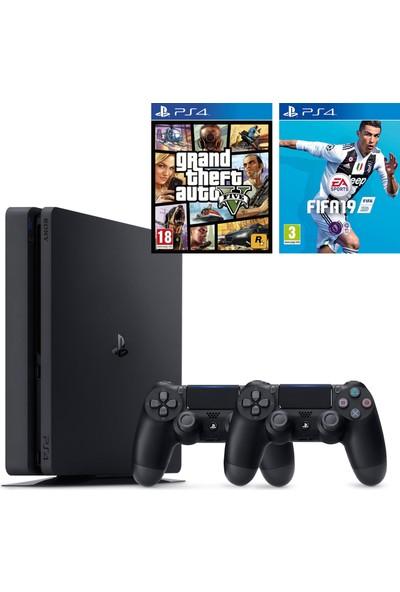 Sony PS4 Slim 500 GB Oyun Konsolu + 2. PS4 Kol + PS4 Gta 5 + PS4 Fifa 19 Türkçe