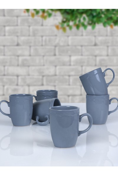 Keramika 6 Adet 9 Cm Juliet Kupa Messe Gri 619