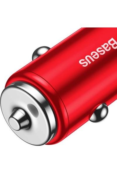 Baseus Small Screw 3.4A 2 USB Hızlı Araç Şarj Cihazı Kırmızı