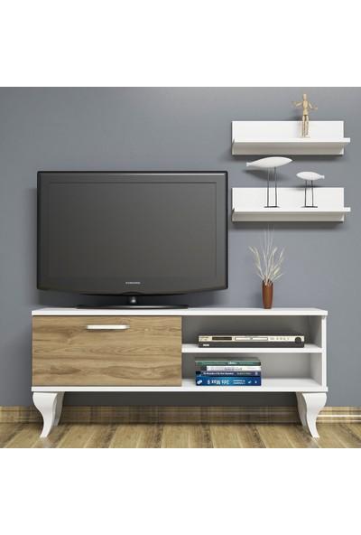 Bimossa B1210 TV Ünitesi - Duvar Raflı - Tv Sehpası - Beyaz Ceviz 120 cm TV Ünitesi