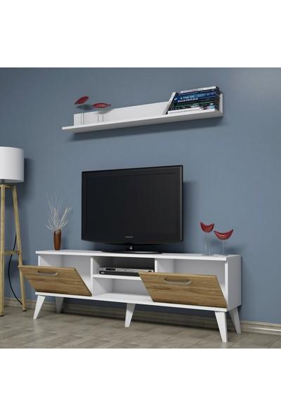 Bimossa C1310 TV Ünitesi Raflı Tv Sehpası Ceviz 150 cm Modern TV Ünitesi