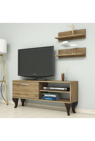 Bimossa B1220 TV Ünitesi - Duvar Raflı - Tv Sehpası - Ceviz 120 cm TV Ünitesi