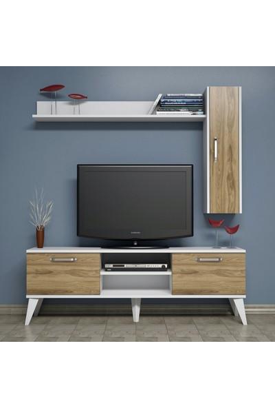 Bimossa C1410 TV Ünitesi Raflı Dolaplı Tv Sehpası Ceviz 150 cm Modern TV Ünitesi