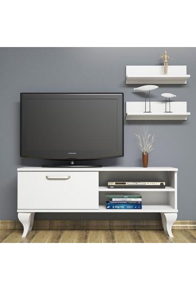 Bimossa B1240 TV Ünitesi - Duvar Raflı - Tv Sehpası - Beyaz