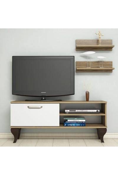Bimossa B1230 TV Ünitesi - Duvar Raflı - Tv Sehpası - Ceviz Beyaz