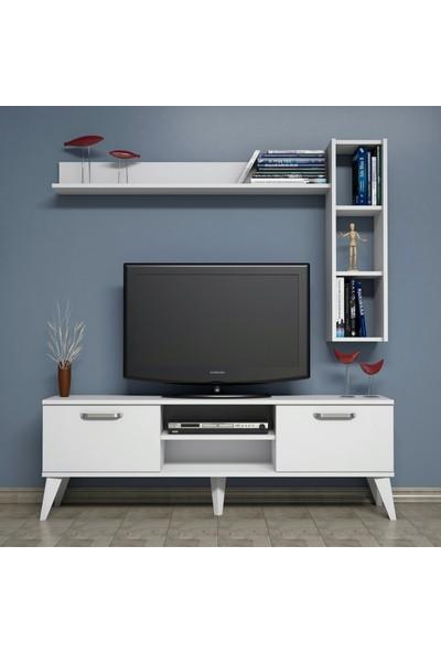 Bimossa C1540 TV Ünitesi Raflı Kitaplıklı Tv Sehpası Beyaz 150 cm Modern TV Ünitesi
