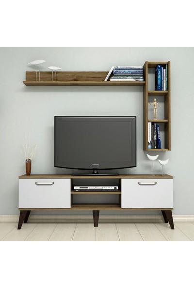 Bimossa C1530 TV Ünitesi Raflı Kitaplıklı Tv Sehpası Ceviz Beyaz 150 cm Modern TV Ünitesi