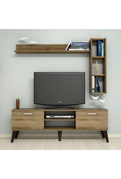 Bimossa C1520 TV Ünitesi Raflı Kitaplıklı Tv Sehpası Ceviz 150 cm Modern TV Ünitesi