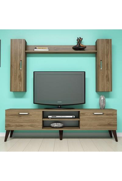 Bimossa E2520 TV Ünitesi Dolaplı Raflı Tv sehpası Ceviz