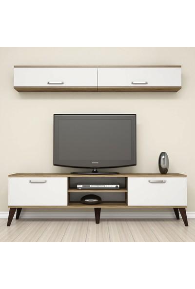 Bimossa E2330 TV Ünitesi Dolaplı Tv sehpası Ceviz Beyaz