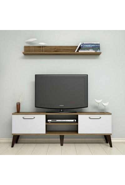 Bimossa C1330 TV Ünitesi Raflı Tv Sehpası Ceviz Beyaz 150 cm Modern TV Ünitesi