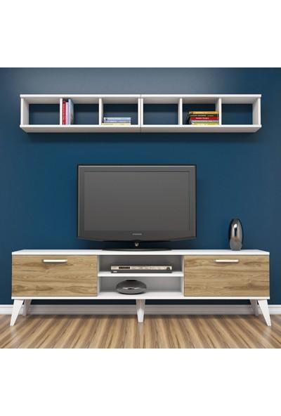 Bimossa E2410 TV Ünitesi Kitaplıklı Tv sehpası Beyaz Ceviz