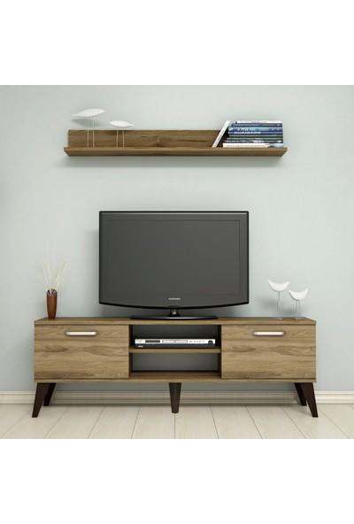 Bimossa C1320 TV Ünitesi Raflı Tv Sehpası Ceviz 150 cm Modern TV Ünitesi