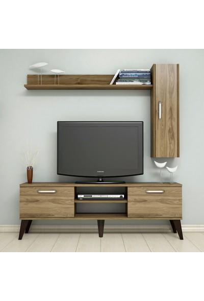 Bimossa C1420 TV Ünitesi Raflı Dolaplı Tv Sehpası Ceviz 150 cm Modern TV Ünitesi