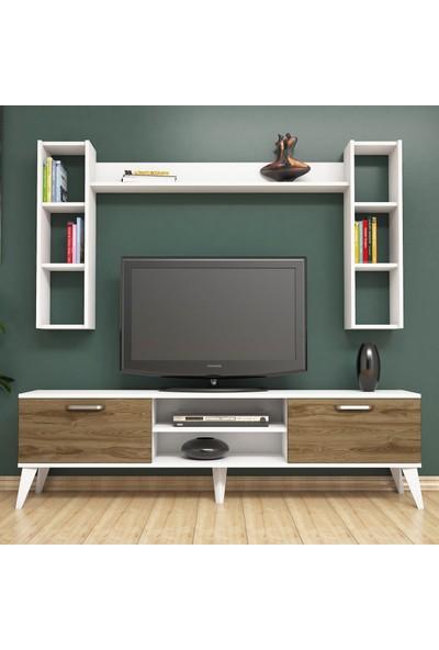Bimossa E2610 TV Ünitesi Kitaplıklı Raflı Tv sehpası Ceviz Beyaz
