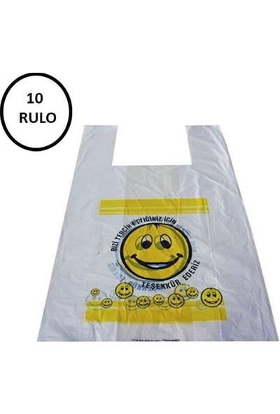 Naksan Emoji Baskılı Poşet Büyük Boy 10 Rulo (Rulo 100'lü)